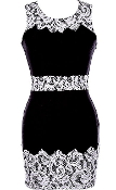 black white lace bodycon dress