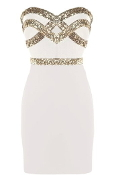White Gold Sequin Strapless Sweetheart Short Mini Bodycon Dress