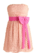 Strapless Peach Lace Pink Bow Short Bridesmaid Dress