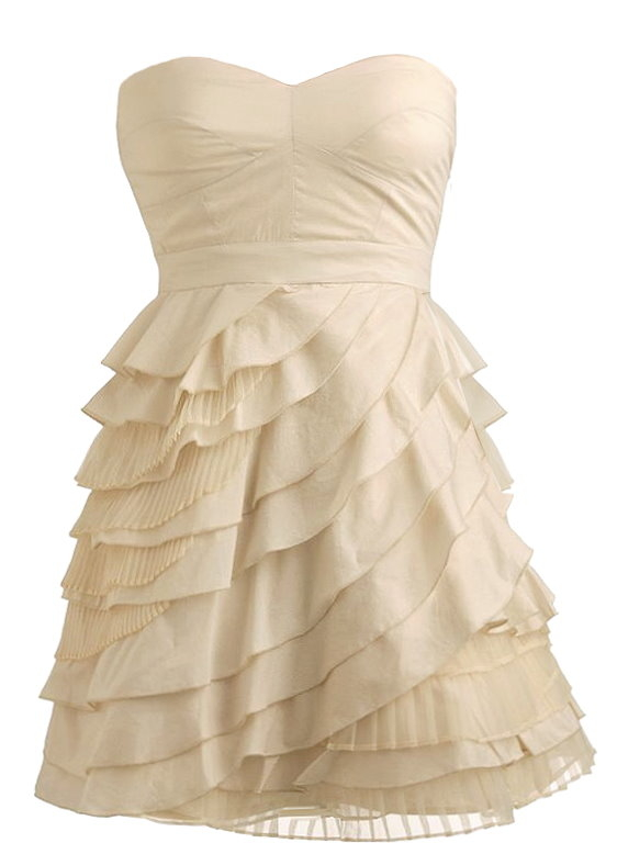 Strapless Cream Tiered Layered Homecoming Dress