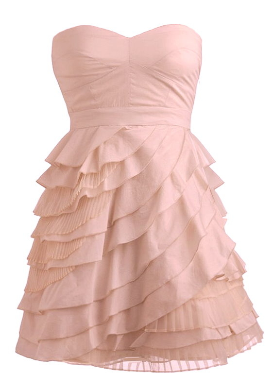 Strapless Pink Tiered Layered Homecoming Dress