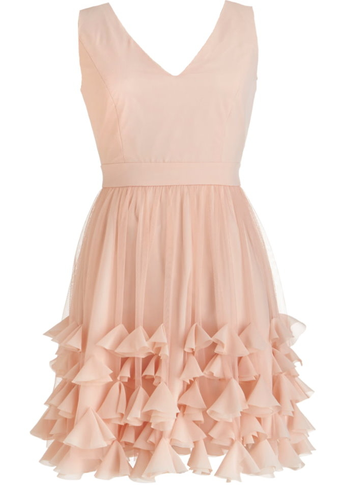 Pink Chiffon V-Neck Petal Hem Bridesmaid Prom Homecoming Dress