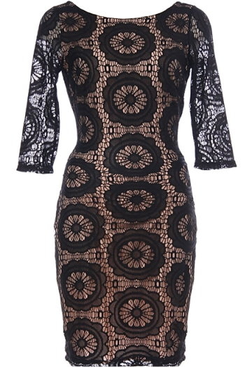 Black Lace Half Sleeve Bodycon Dress