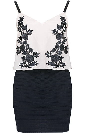 White Floral Embroidered Black Bodycon Dress