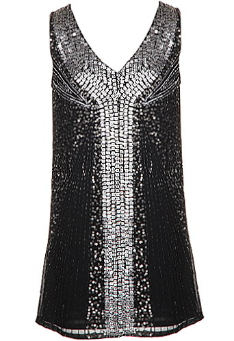 Black Silver Metallic Embellished Flapper Dress