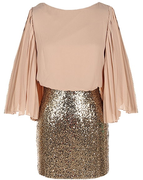 Taupe Flutter Sleeve Gold Sequin Skirt Party Dress