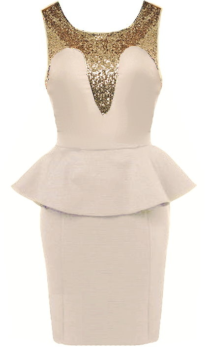 Beige Gold Sequin Peplum Bodycon Dress