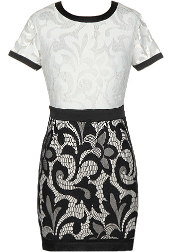 White Black Short Sleeve Lace Bodycon Dress