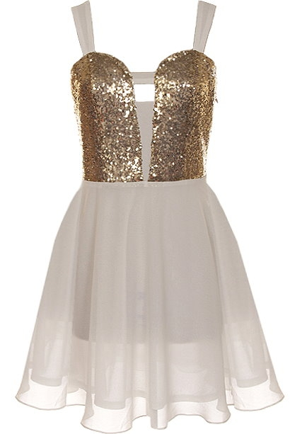 White Gold Sequin Cutout Chiffon Skater Dress