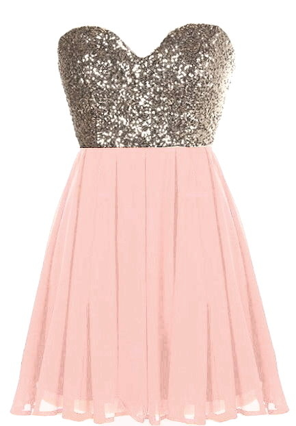 Gold Sequin Peach Chiffon Short Party Dress