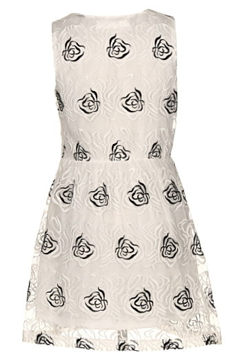 Short Ivory Floral Print Babydoll Dress