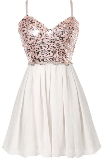 White Chiffon Pink Sequin Spaghetti Strap Party Dress