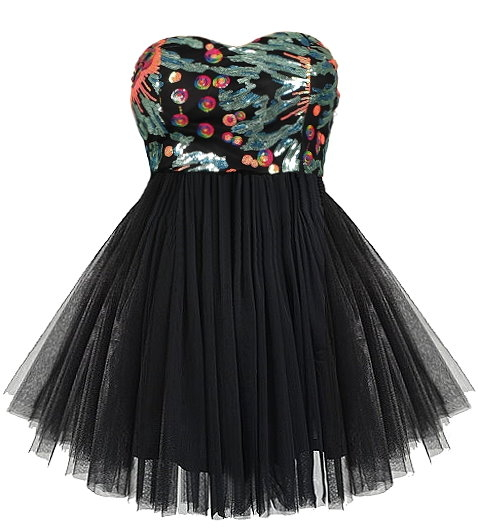 Strapless Black Mesh Tutu Sequin Dress