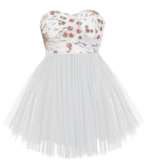 Strapless White Sweetheart Sequin Tulle Homecoming Dress