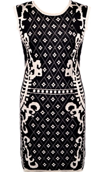 Black Knitted Diamond Print Bodycon Dress