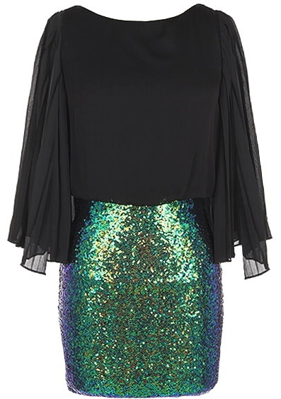 Black Flutter Sleeve Green Sequin Skirt Party Dress