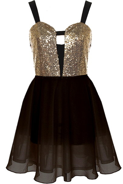 Black Gold Sequin Cutout Chiffon Skater Dress