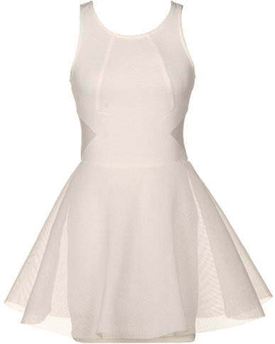 Sleeveless White Silk Mesh Short Skater Dress