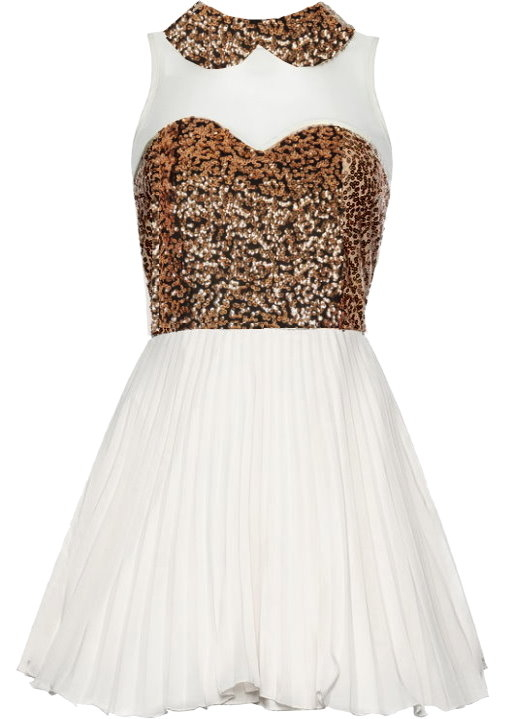 White Bronze Sequin Collar Chiffon Skater Dress