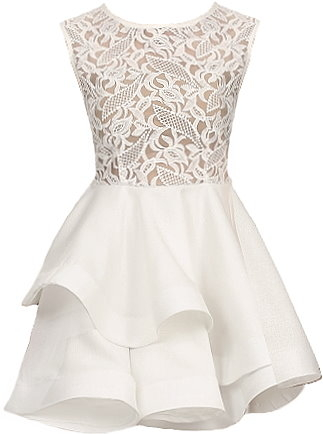 White Lace Bodice Layered Skater Dress