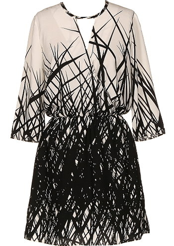 Cream Black Branch Print Shift Dress