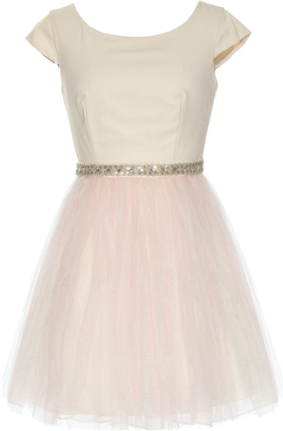 Ivory Cap Sleeve Pink Tulle Bridesmaid Dress