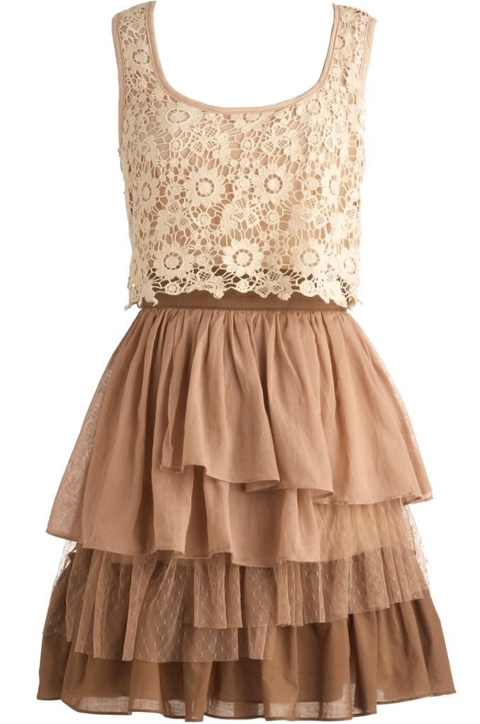 Taupe Lace Rustic Country Bridesmaid Dress