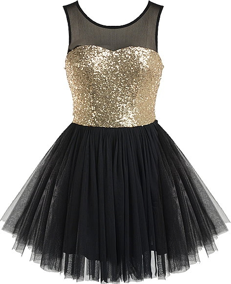 Black Mesh Gold Sequin Ballerina Tutu Homecoming Dress