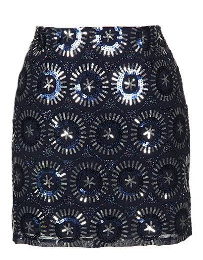 Navy Blue Sequin Mini Party Skirt