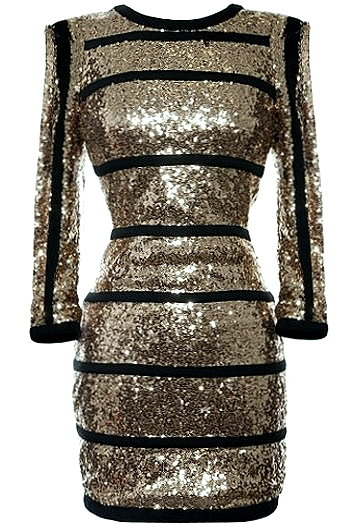 Gold Sequin Long Sleeve Black Striped Party Dress