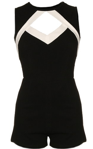 Black White Cutout Short Juniors Romper For Teens