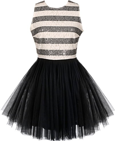 Black White Sparkling Mesh Tutu Party Dress