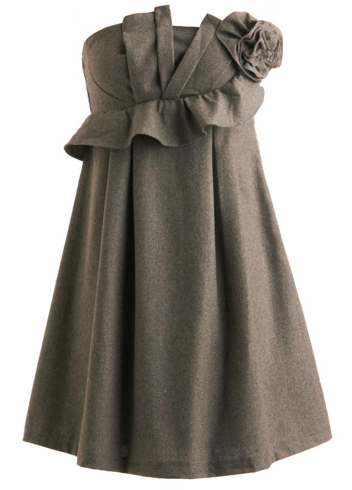 Strapless Grey Ruffle Applique Short Bridesmaid Dress