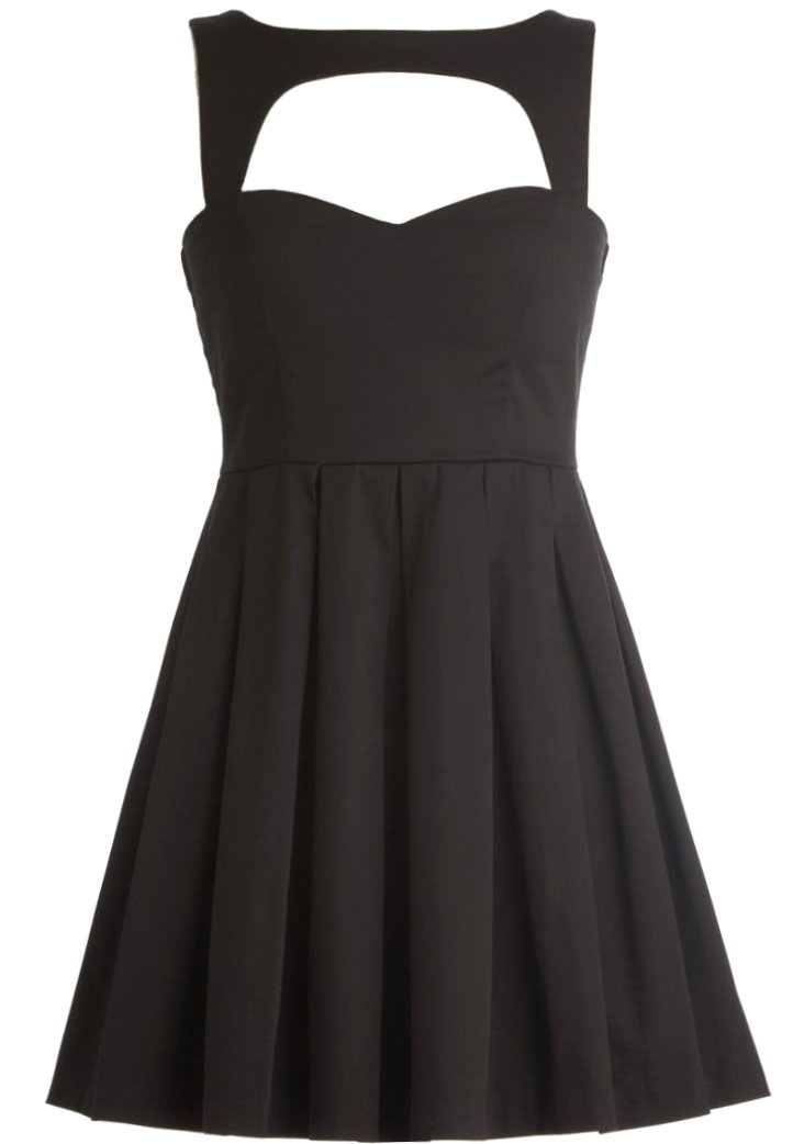 Black Sweetheart Neck Vintage Fit-And-Flare Dress