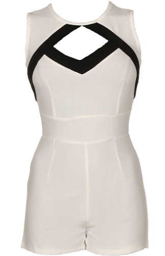 White Black Cutout Short Juniors Romper For Teens