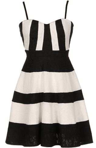 Black White Striped Lace Skater Dress