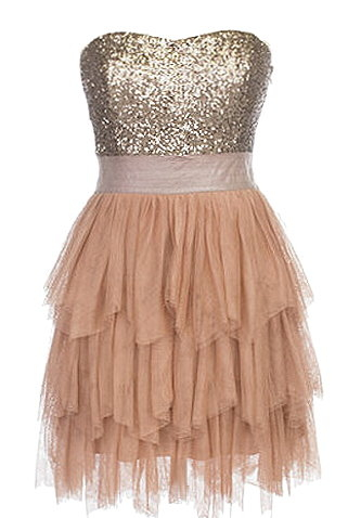 Sequin Bodice Peach Mesh Tiered Hem Homecoming Prom Dress