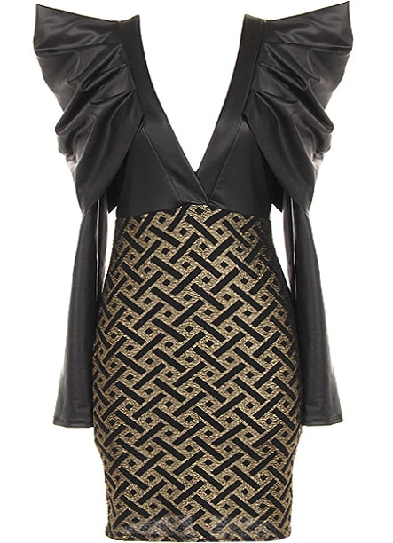 Power Shoulder Dress Black Gold Deep V Neck Party