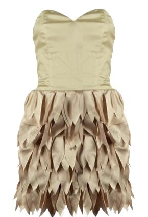 Strapless Satin Petal Hem Party Dress