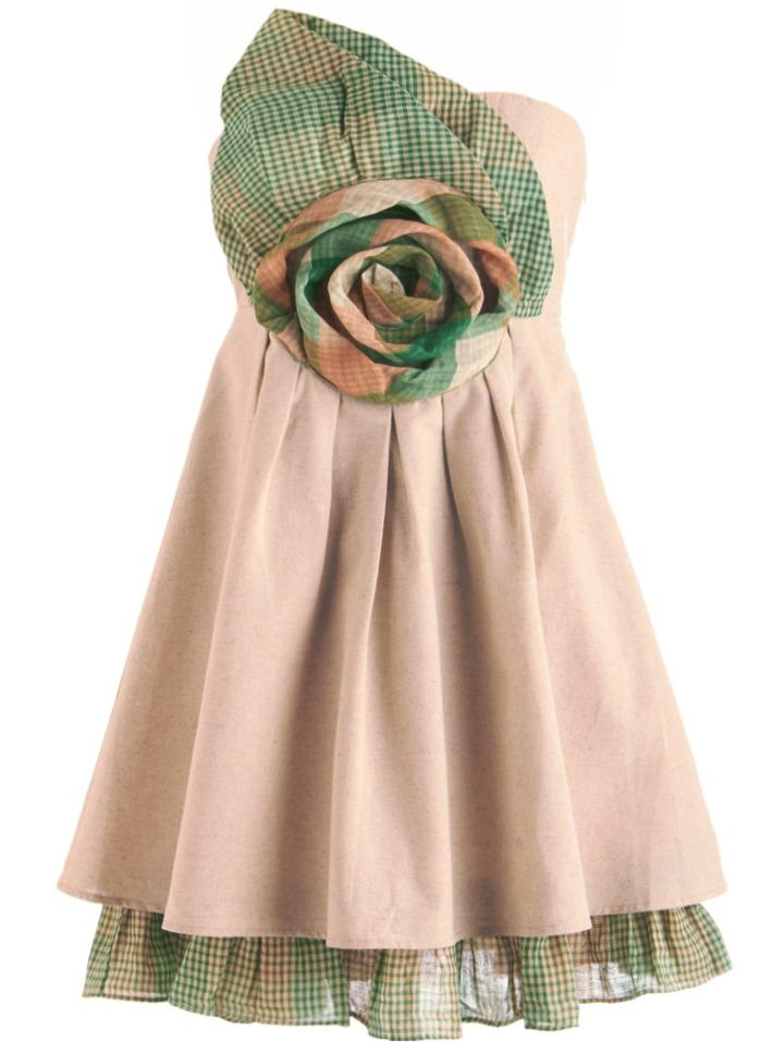 Strapless Beige Linen Flower Leaf Applique Pleated Dress