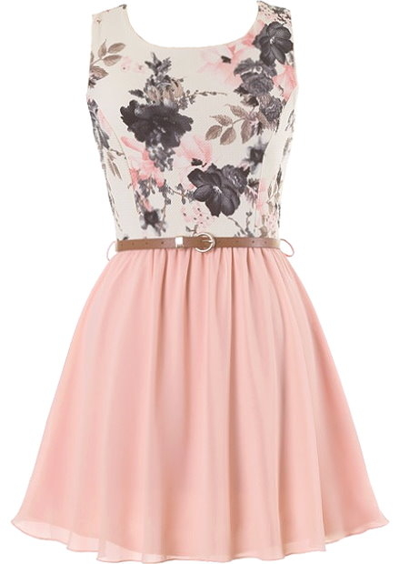 Floral Bodice Peach Chiffon Skater Dress