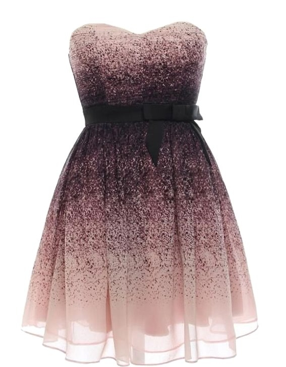 Strapless Purple Ombre Printed Prom Dress