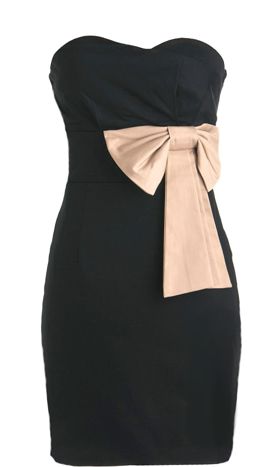 Strapless Black Sweetheart Bow Bodycon Homecoming Dress