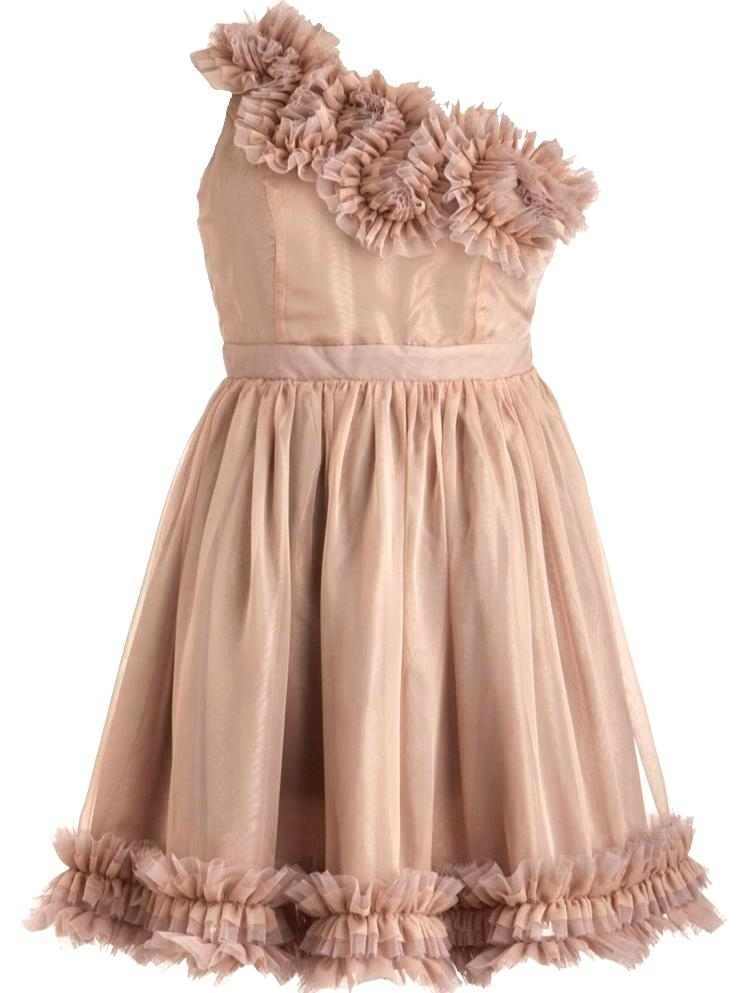 Vintage Peach One-Shoulder Short Bridesmaid Dress