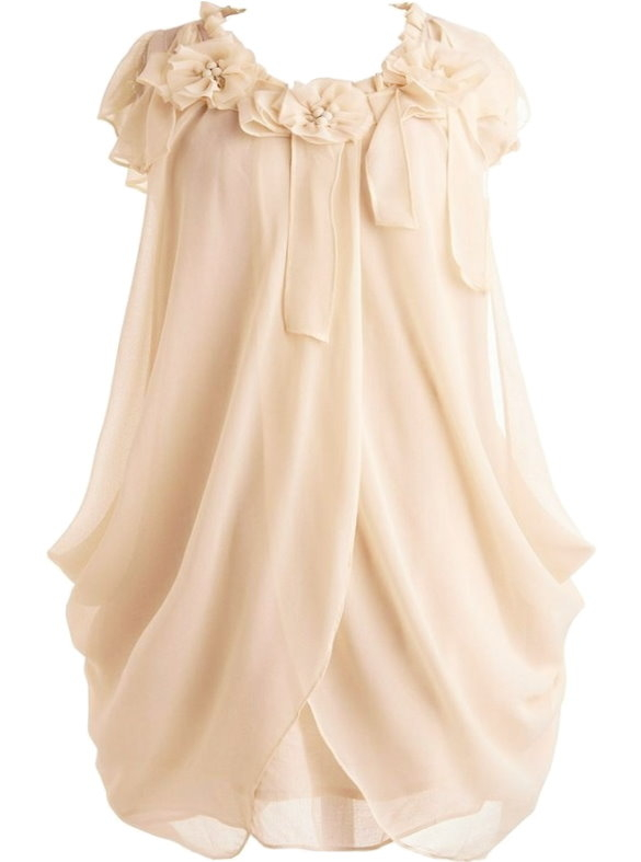 Ivory Cap Sleeve Draped Chiffon Dress