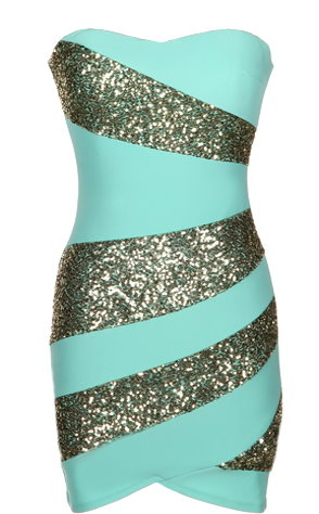 Mint Green Gold Sequin Strapless Party Dress