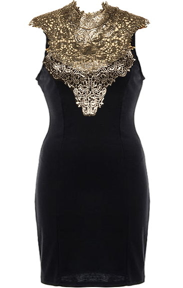 Black Gold Metallic Applique Short Bodycon Dress