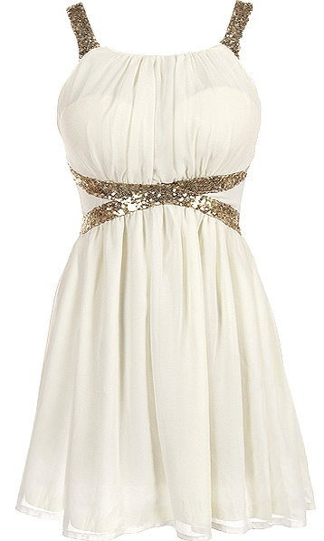 White Gold Sequin Strap Waist Chiffon Party Dress