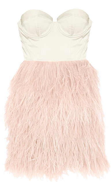 Strapless Baby Pink Satin Feather Prom Dress
