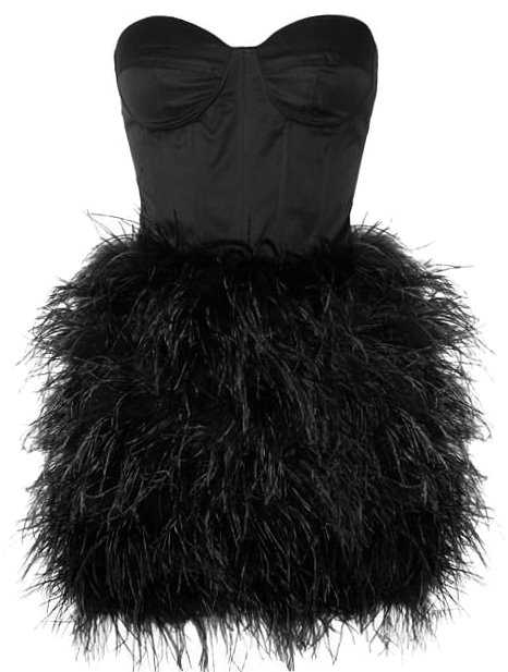 Black Strapless Sweetheart Ostrich Feather Prom Homecoming Dress